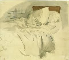 """unmade bed exercise (10-30min) Delacroix, """"An unmade bed"""" Watercolour over graphite on laid paper"""