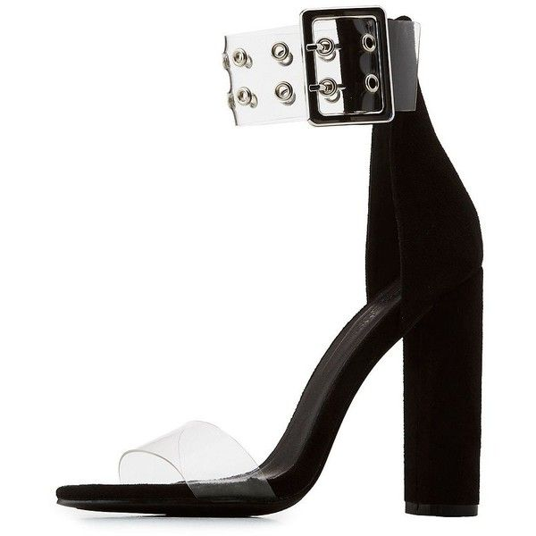 afe3a98b9ac Charlotte Russe Grommet-Detail Two-Piece Chunky Block Heel Sandals ( 25) ❤
