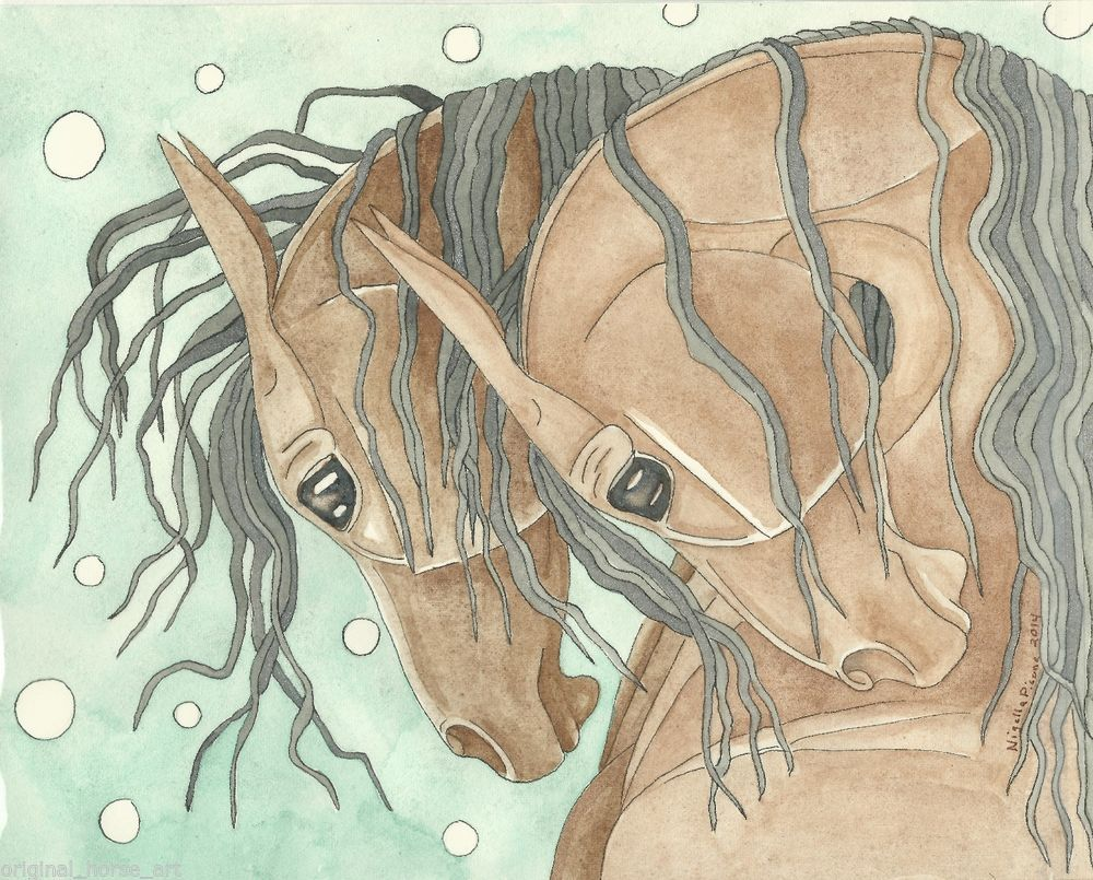 Gemstone Watercolor Painting Horse *ORIGINAL ART* by Nigella Picone Starts@ 1¢