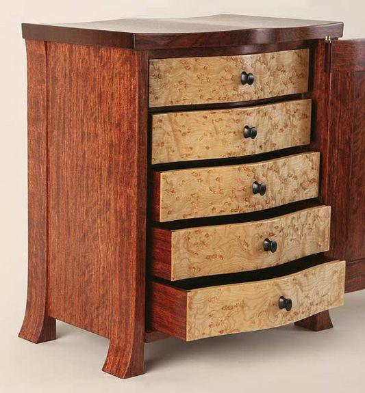 Bubinga Cabinet With Birdseye Maple Drawer Fronts Carved Ebony