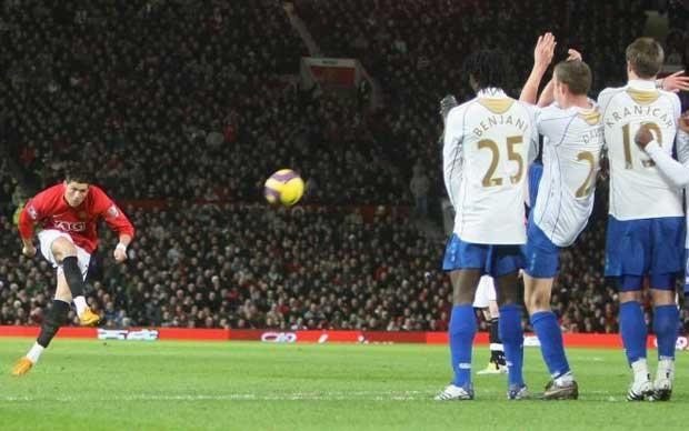 Cristiano Ronaldo Free Kick Against Portsmouth 0 Free Kick