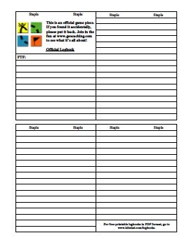 graphic regarding Printable Geocache Log named Printable geocaching logbook #MakerMadness Geocaching