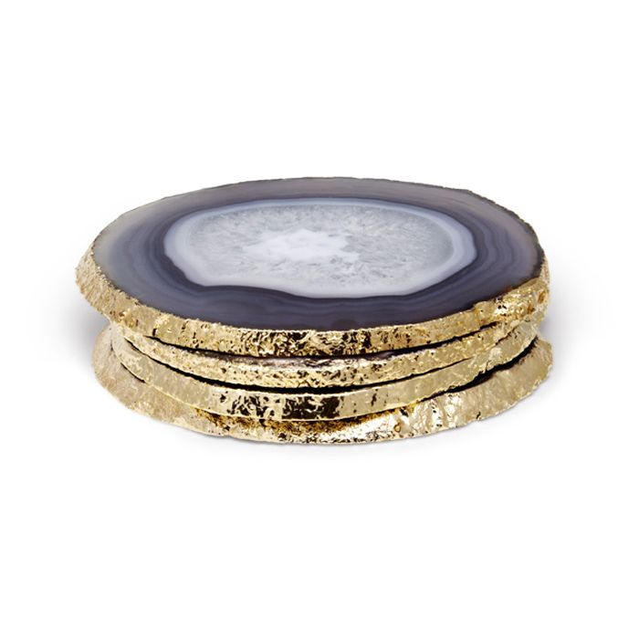 Aerin Lauder Collection Grey Agate CoastersGrey Agate Coasters