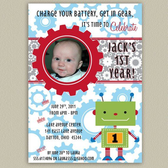 Robot Printable Birthday Party Invitation With Color Options