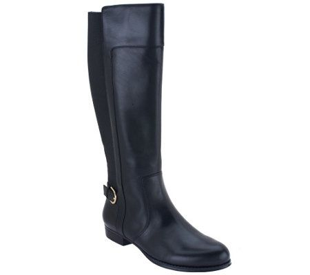 Calf Width Leather Riding Boots - QVC