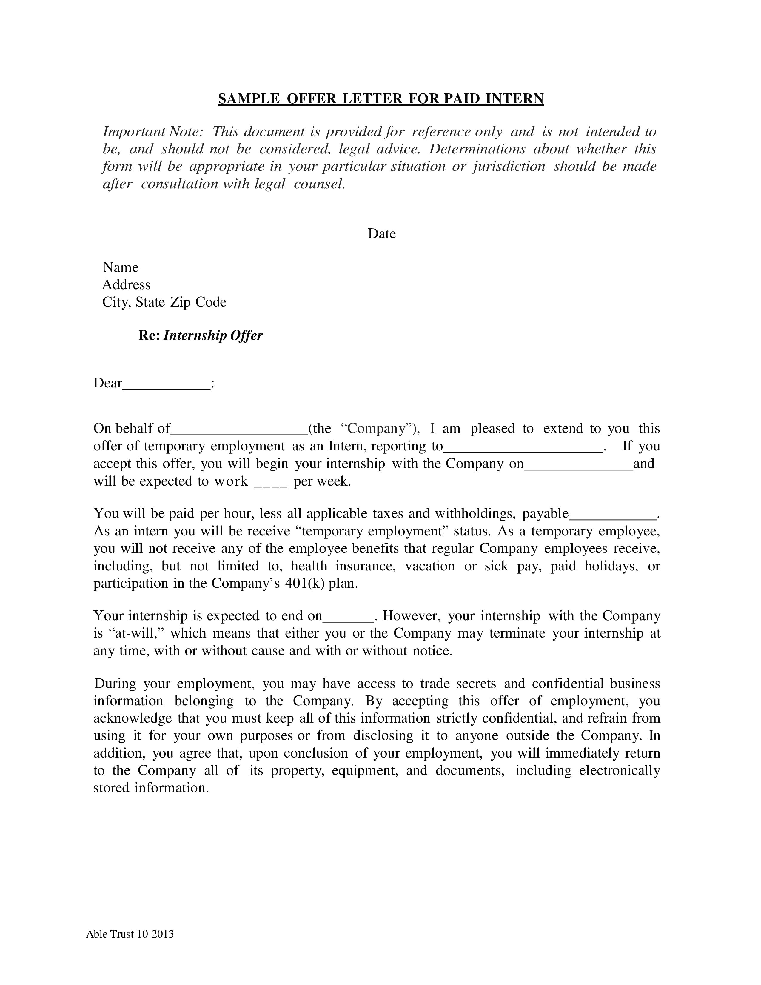 Paid Internship How To Create A Paid Internship Download This Paid Internship Template Now Letter Templates Lettering Professional Cover Letter Template