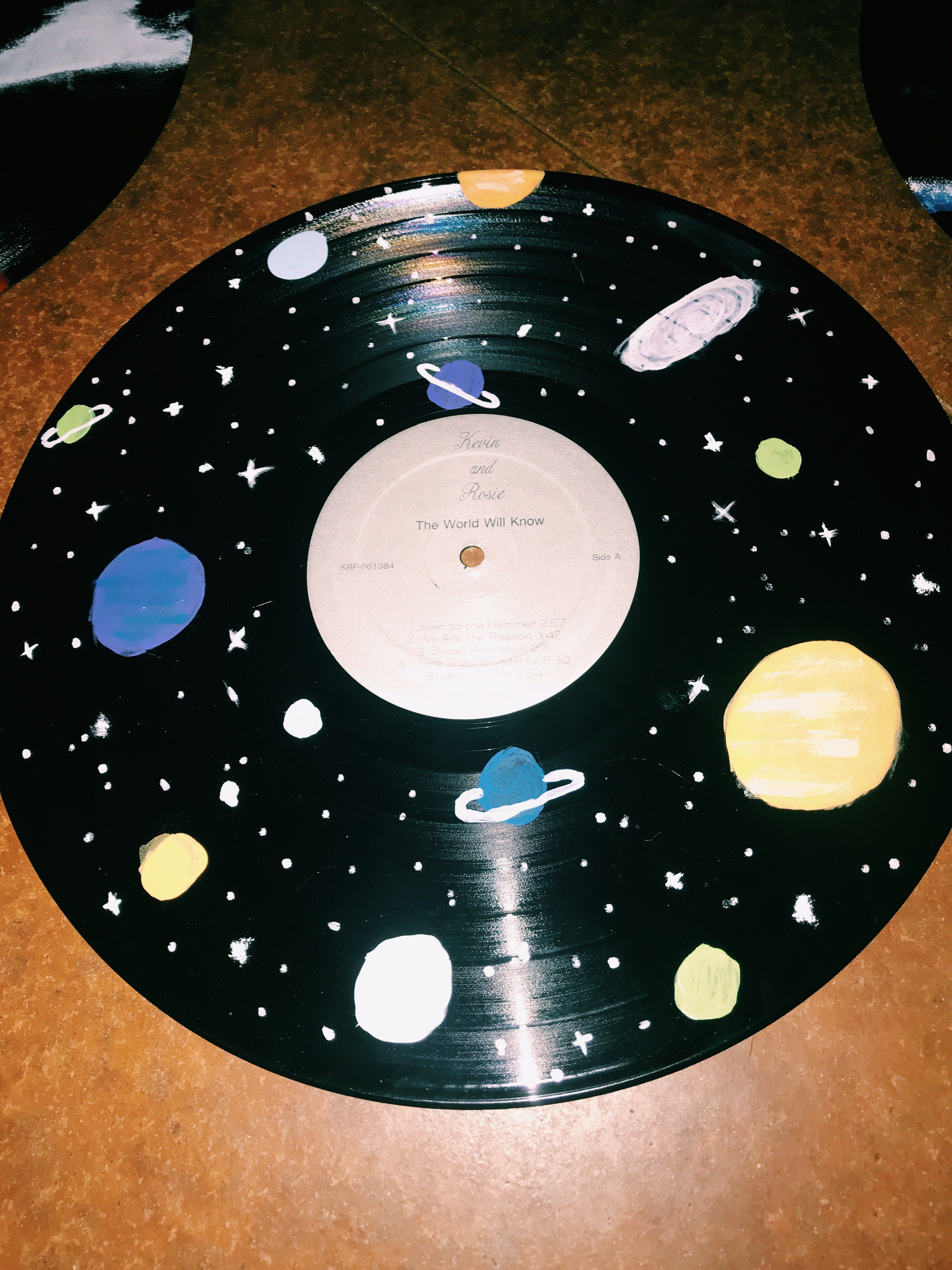 painted galaxy on record | Vinyl record art, Record wall ...