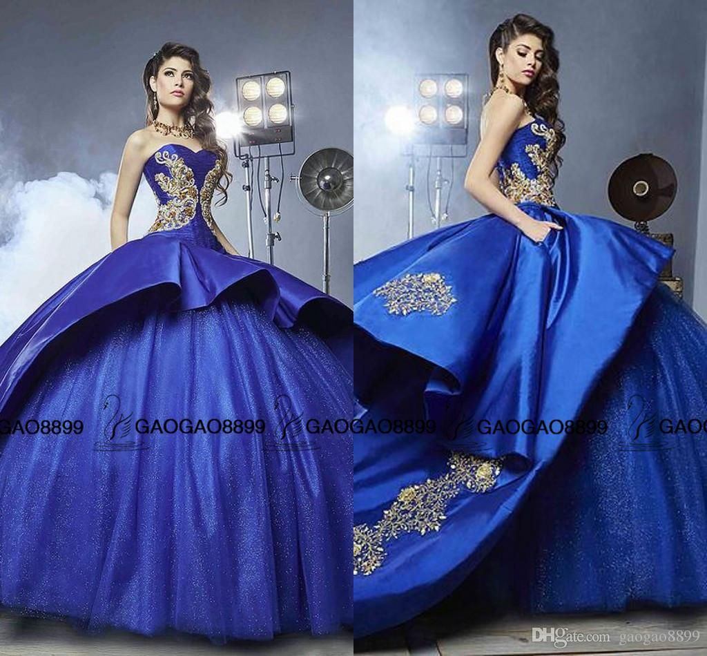 Royal Blue And White Ball Gowns With Gold Detail