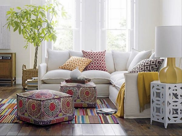 Living Room Poufs Contemporary Living Room Ottoman Pouf Sectional Sofa Moroccan Style