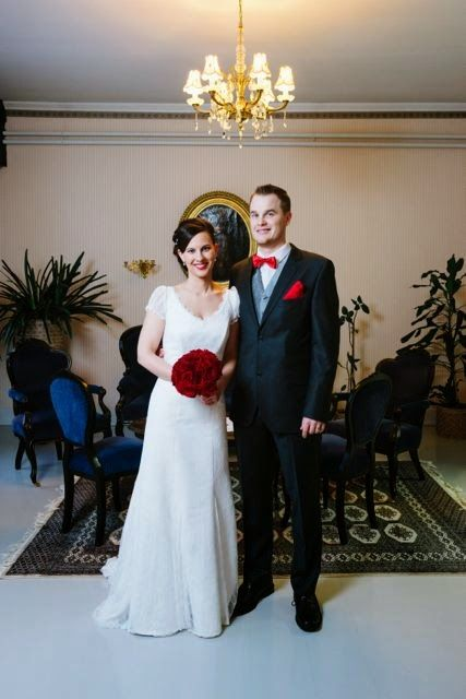Real wedding in Finland. Dress made by Pukuni (www.pukuni.fi). Lace wedding dress, sleeves, V-neck, short sleeves.