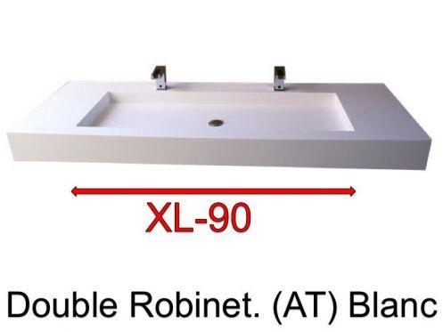 Plan vasque suspendue ou à encastrer double robinetterie , largeur ...