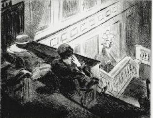 Edward Hopper,The Balcony,or The Movies,1928 (Drypoint etching)Whitney Museum of American Art,New York