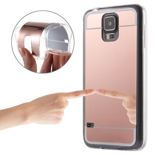 [USD1.40] [EUR1.32] [GBP1.02] Electroplating Mirror TPU Protective Case for Samsung Galaxy S5 / G900(Rose Gold)