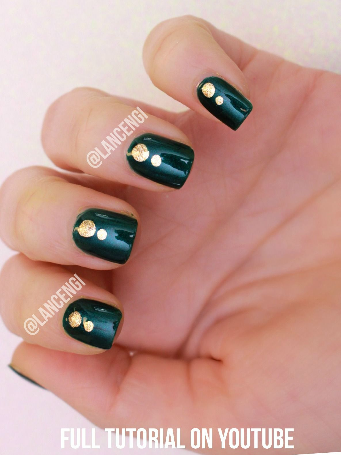 Easy Nail Art For Beginners with Short Nails: Green and Gold Elegant ...
