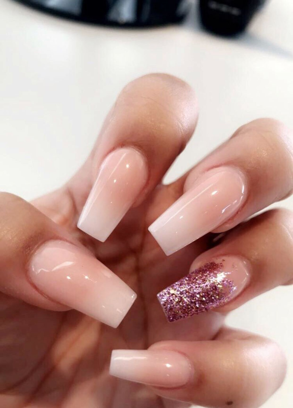 Ombré Nails Pink Glitter Ombre Acrylic