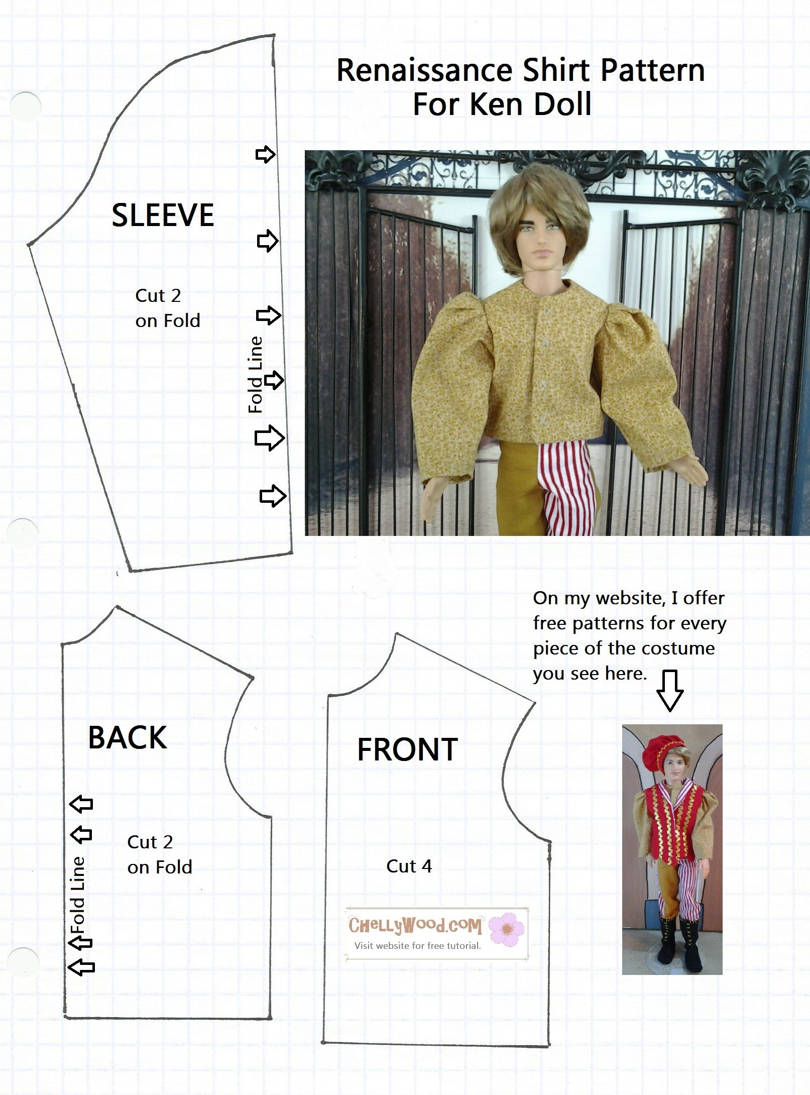 This is a pattern for an easy-to-sew Renaissance shirt pattern for ...