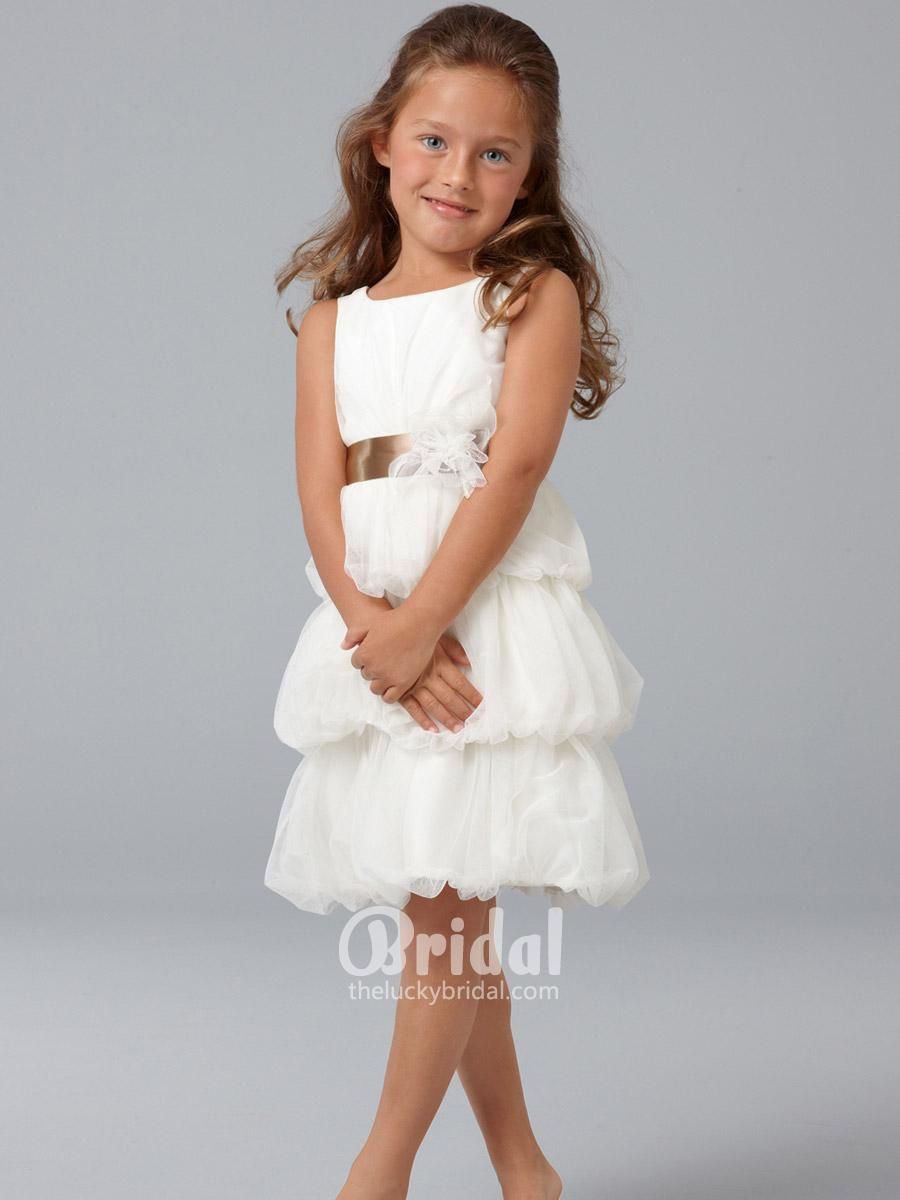 ivory english net short flower girl dress with shirred bubbled ...
