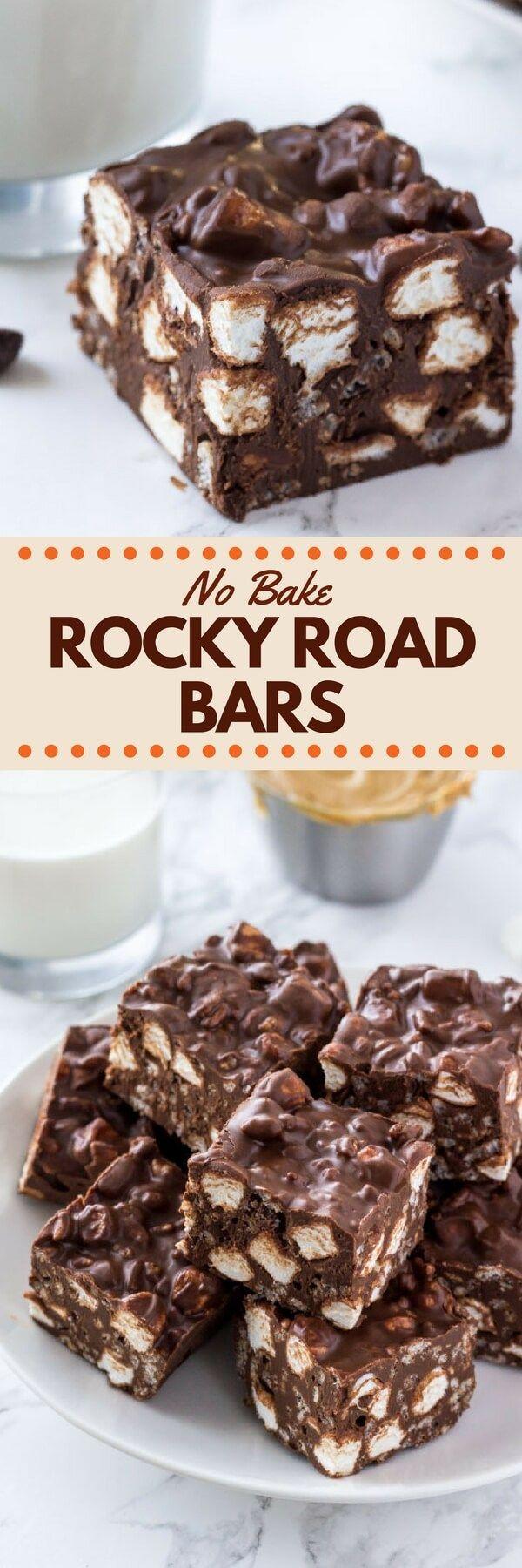 No Bake Rocky Road Bars Recipe Desserts Baking No Bake Treats