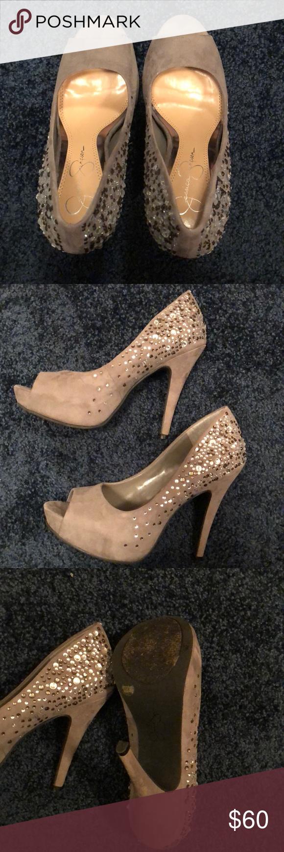 a284a6e2197 Jessica Simpson platform heels Size 6.5 Gray suede with rhinestones Peep  toe platforms Jessica Simpson Shoes Heels