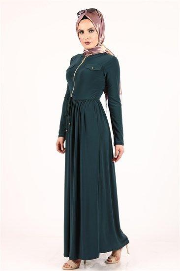 Aysima Onden Fermuarli Candy Elbise Zumrut 2047 The Dress Ust Giyim Elbise