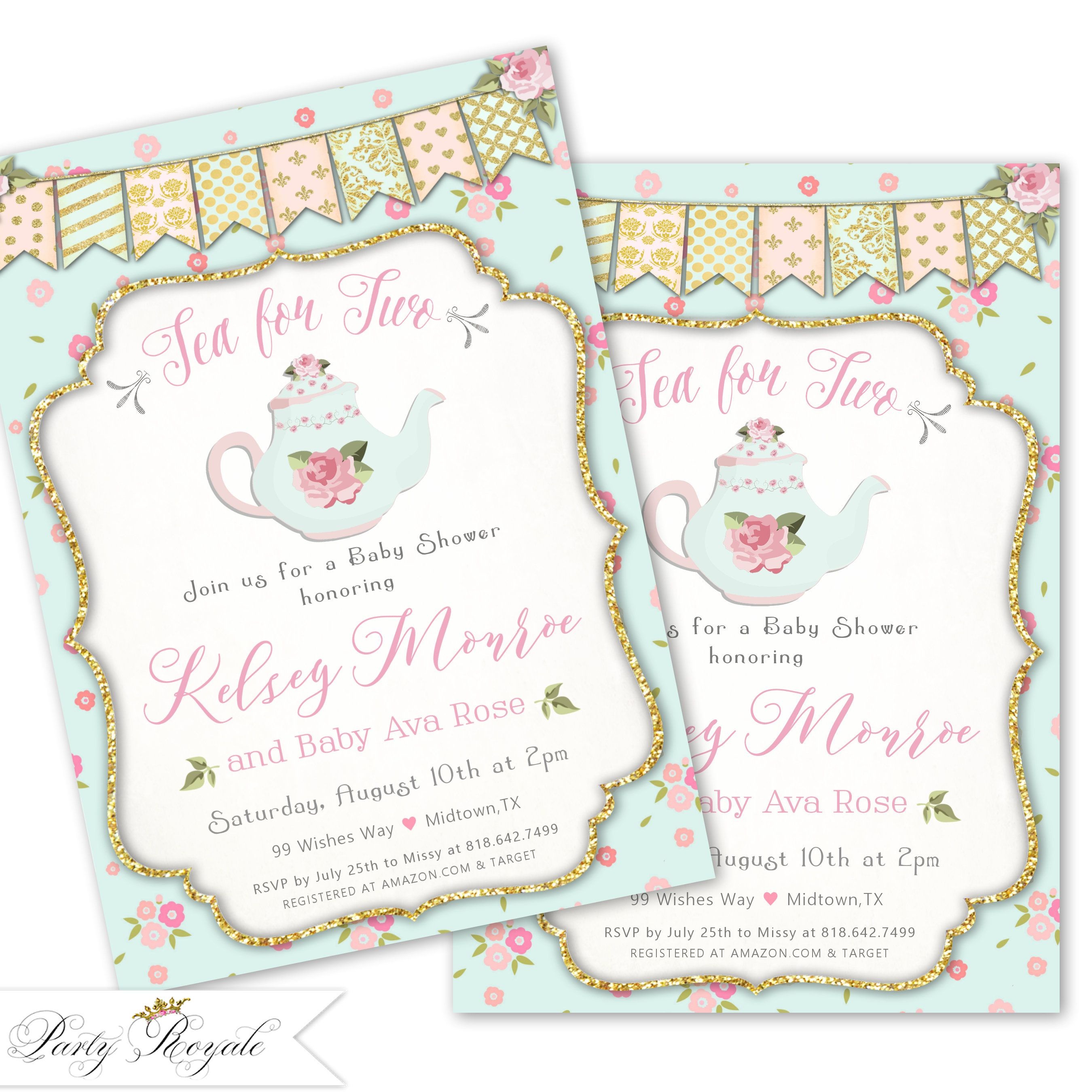 Tea for Two Baby Shower Invitation, Tea Party Baby Shower Invites ...