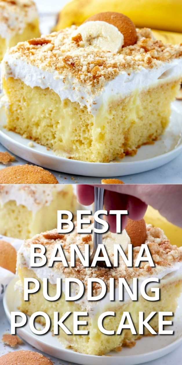 Best Banana Pudding Poke Cake is an easy original recipe made with cake mix poked with banana pudding topped with Cool Whip and crushed Nilla Wafers!