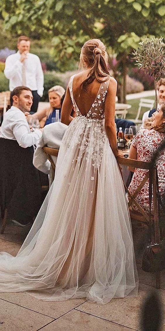 Informal Sexy Deep V-neck Tulle Wedding Dress #bohoweddingdress
