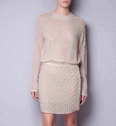 ZARA Nude Beige Pearl BEADED Skirt Embroidered Pearl Skirt