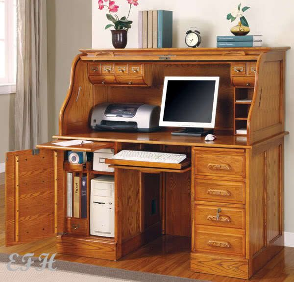 Tilden Oak Roll Top Computer Desk