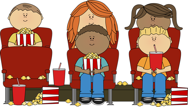 Kids watching a movie in a movie theater. | Clip Art ...