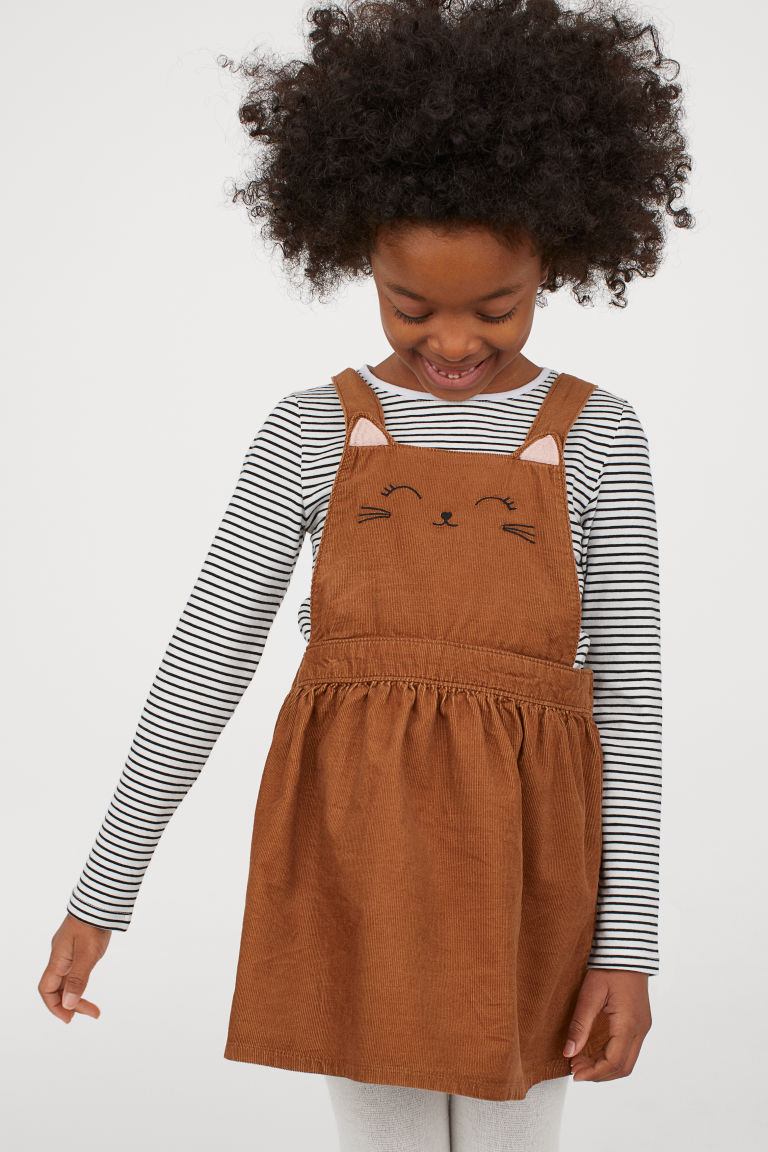 corduroy overall dress - brown - | h&m us | overall kleid