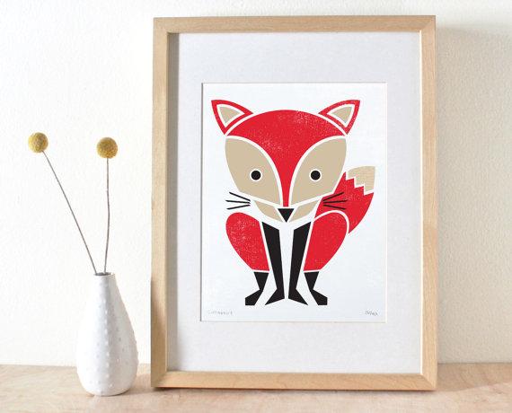 Fox grabado serigrafía rojo vivero arte Woodland por sassandperil