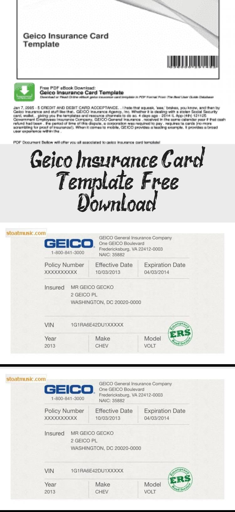 Geico Insurance Card Template Free Download In 2020 Card