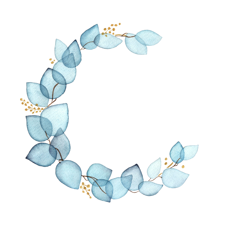 Watercolor Wreath Of Eucalyptus Blue Transparent Leaves 993970 Illustrations Design Bundles Floral Border Design Flower Drawing Flower Logo