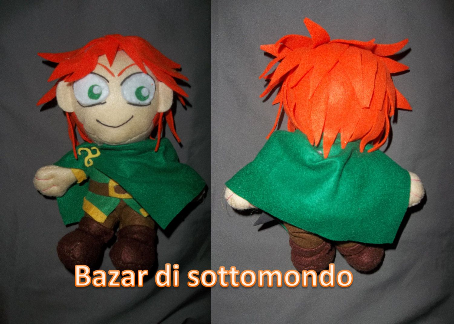 would you like the doll of your character from an anime, a movie, a video game or a character created by you? This is the place I can achieve it for you.   The doll is handmade in felt, stuffed with cotton wool, high 20 cm / 8 inch.  I will fulfill the custom order for you with features that you want ^^ actually making your wishes.  What are you waiting for ?treat yourself, is your chance