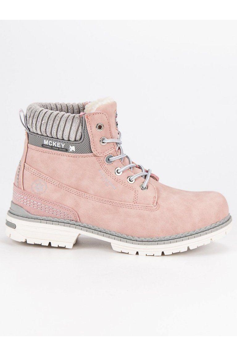 Damske Trapery Ruzove Topanky Na Zimu S Kozusinou Mckey Boots Combat Boots Shoes