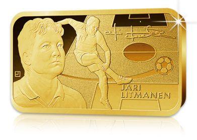 Suomen kaikkien aikojen jalkapalloilija, Jari Litmanen, on vihdoin saanut kunniakseen myös kullatun keräilyharkon.   Pronssiin lyötyä keräilyharkkoa koristaa tyylikäs 24 karaatin kultaus.