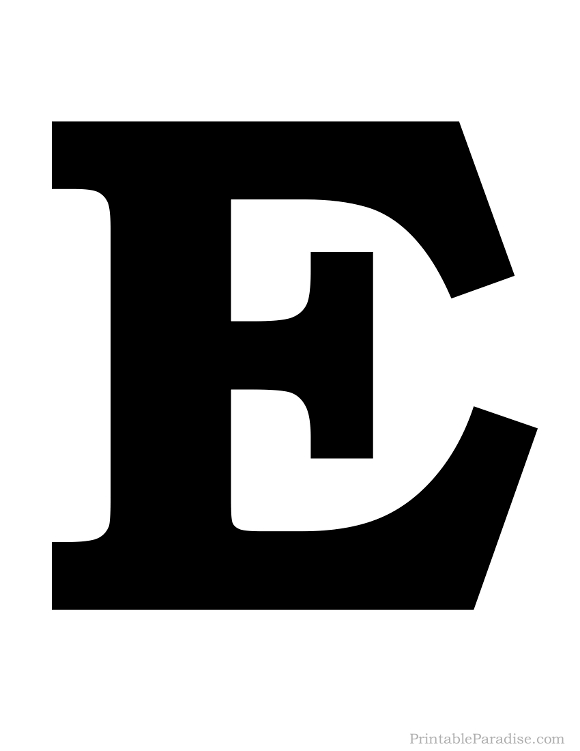 Printable Solid Black Letter E Silhouette