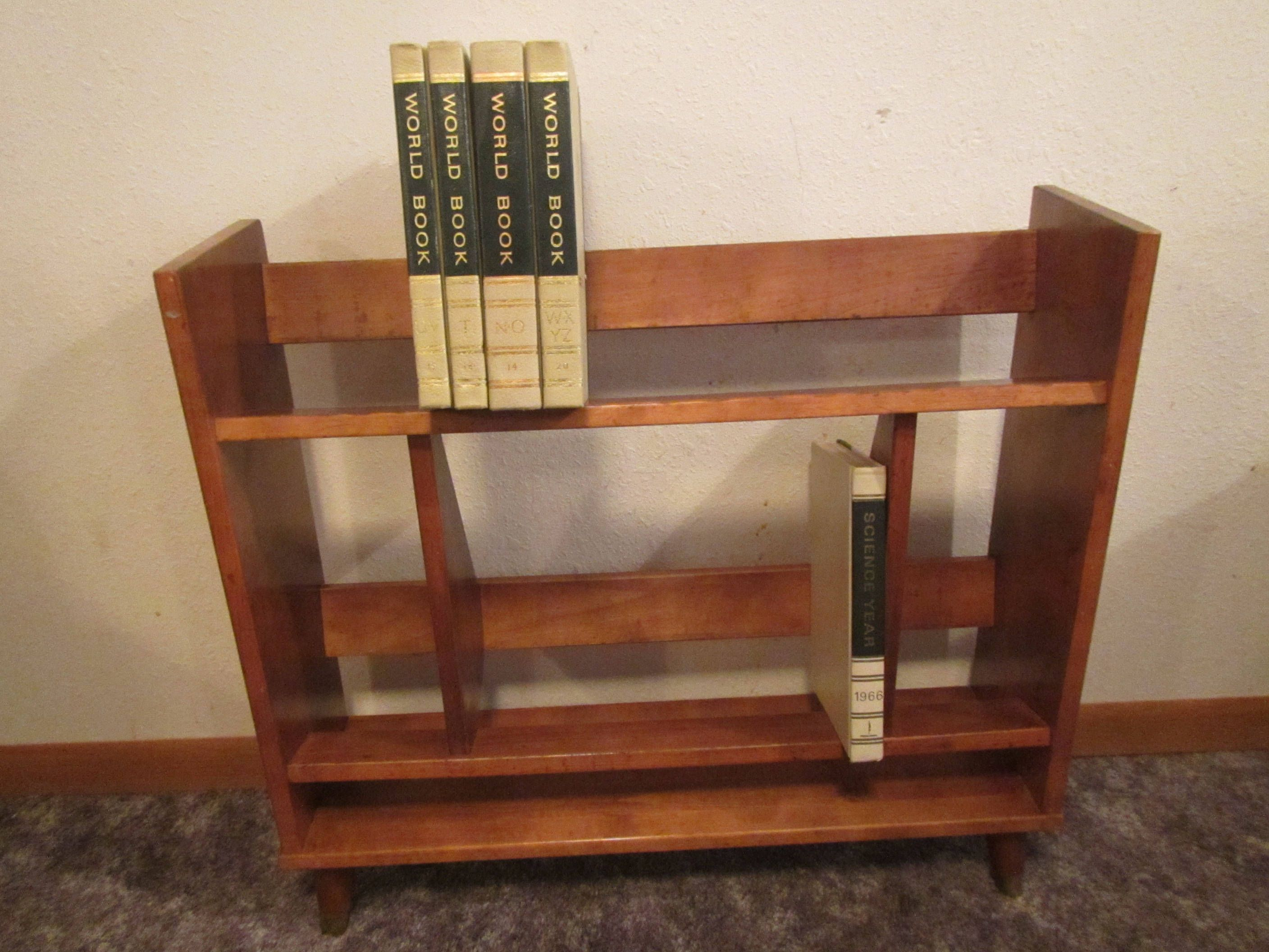 Encyclopedia Book Case That Came With 1970s World Book Etsy Vintage Bookcase Wood Book Shelves