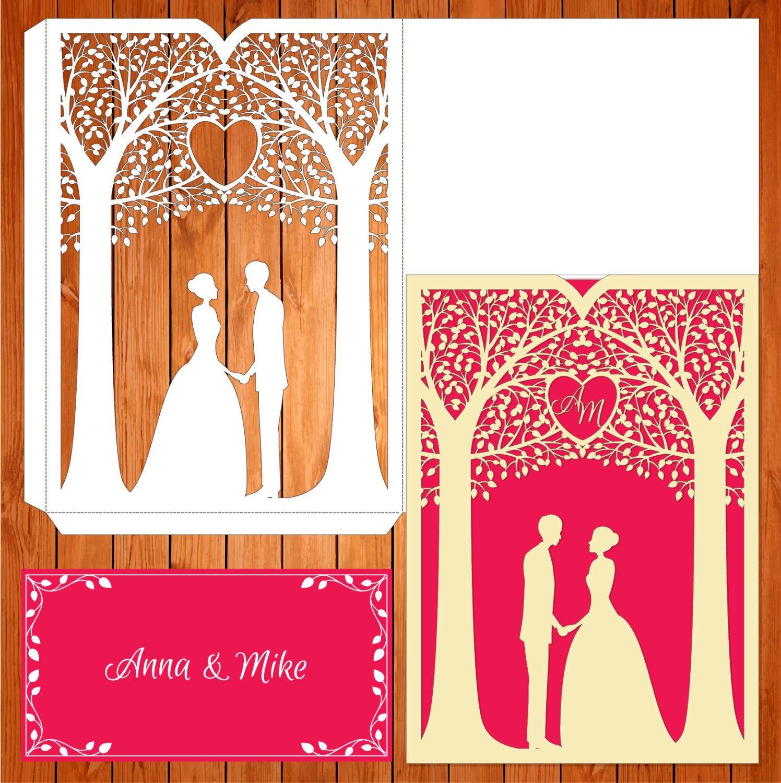 Invitación de la boda tarjeta plantilla árbol, enamorados, pareja ...