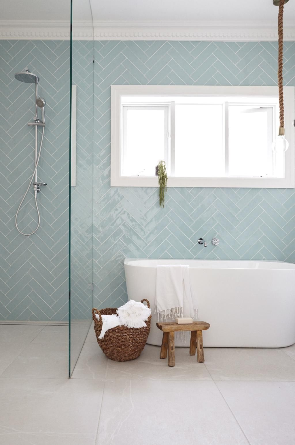 Light Blue Subway Tile With Warm Grey