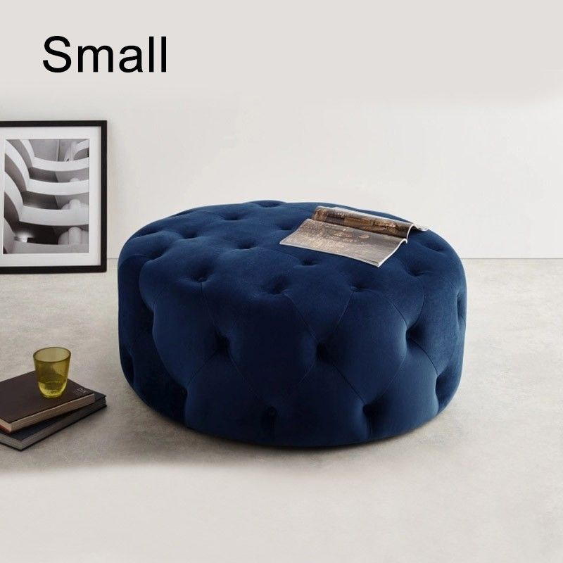 Tufted Ottoman Light Gray Pink Beige Deep Blue Velvet Ottoman Coffee Table Tufted Cocktail Ottoman Round Ottoman Pouf Small Large In 2021 Velvet Ottoman Cocktail Ottoman Tufted Ottoman