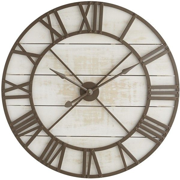 Pier 1 Imports Rustic Wall Clock 239 Liked On Polyvore Featuring Home Home Decor Clocks White White Wall Clock Whit Rustic Wall Clocks Big Wall Clocks