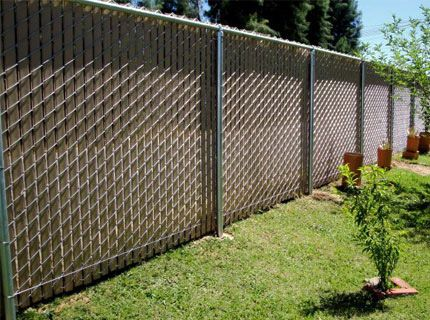Image Result For Black Chain Link Fence With Brown Slats