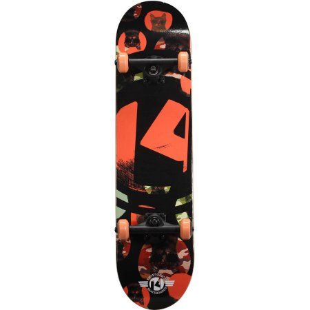Kryptonics Recruit Complete Skateboard, 31 inch x 7.5 inch, Black