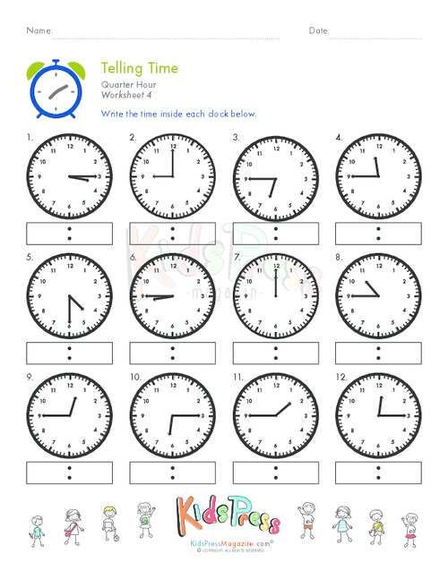 How to learn whats the time Start with telling Time Quarter – Telling Time to the Quarter Hour Worksheets