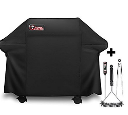 Replacement Weber 7553 7107 Grill Cover Fits Weber Genesis E and S series grills,For Genesis Gas Grills High quality all weather heavy-duty vinyl,Water resistant,Crack resistant,UV resistant Stainless Steel Grill Brush,Tongs and Cooking Thermometer included Fits securely onto grill with form fitting design and Velcro straps,3-year warranty