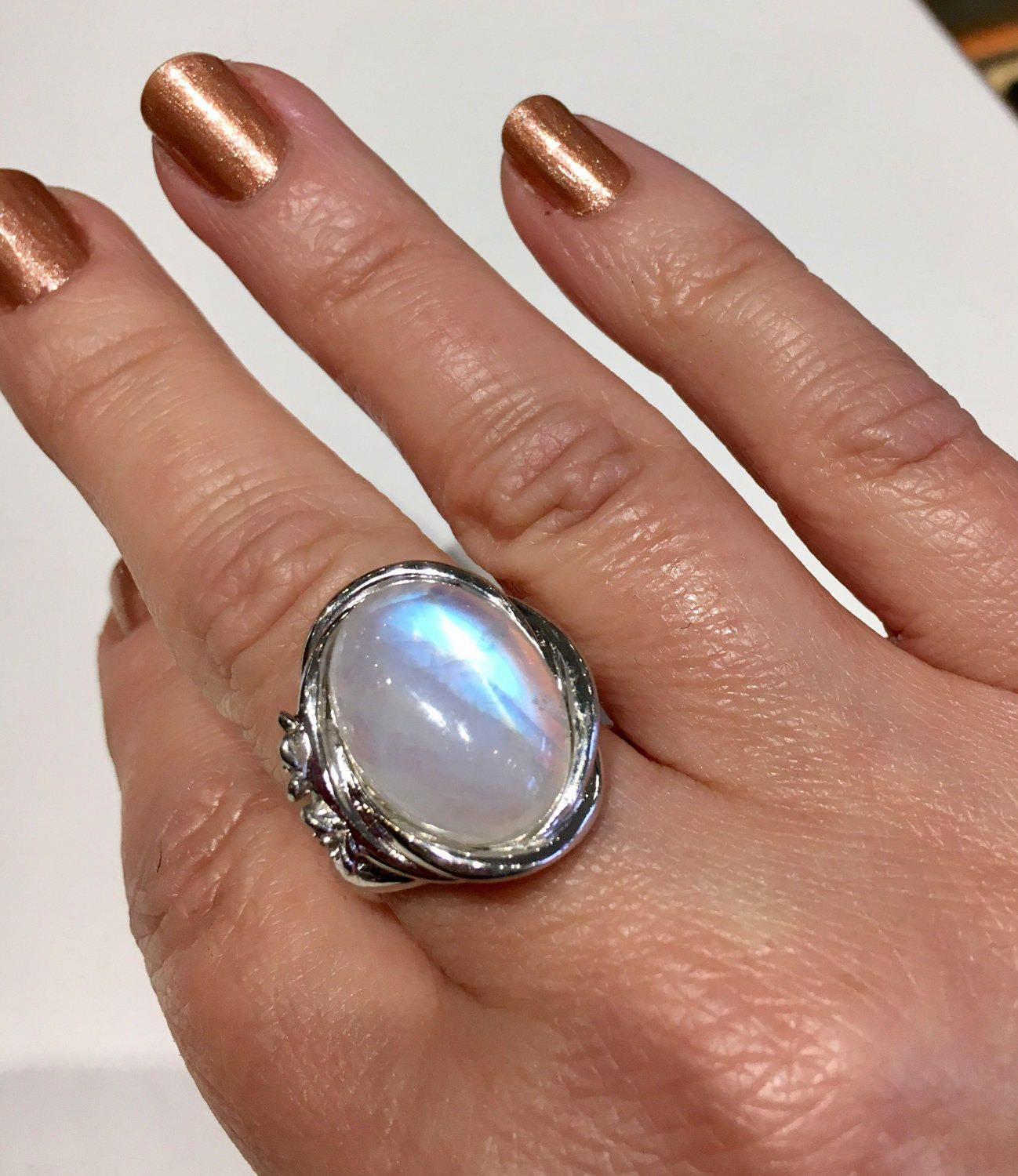 Large Moonstone Sterling Silver Vintage Ring with Flowers