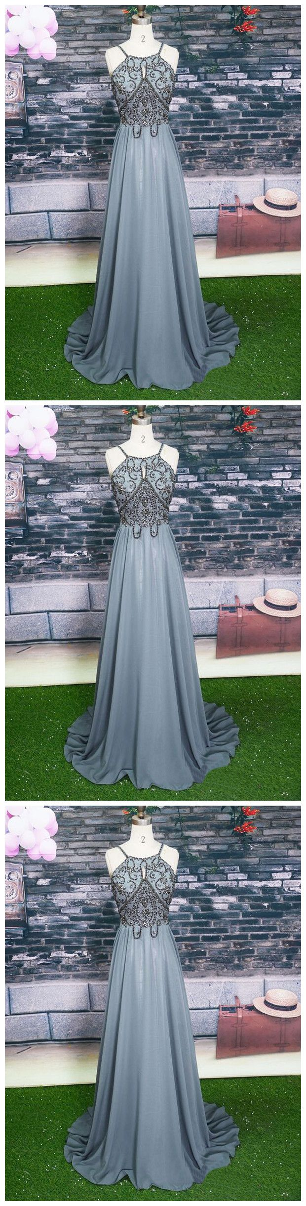 Halter grey beaded prom dresslong beading prom dresses random