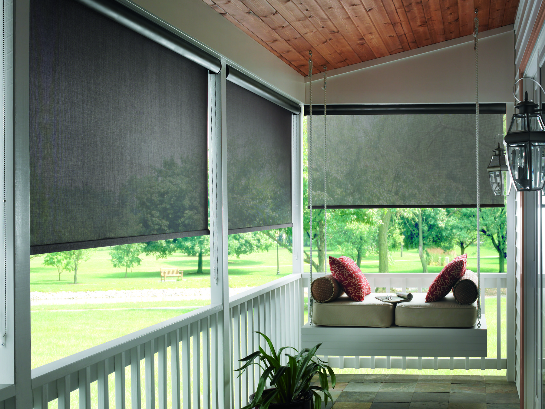 Solar shades, by Budget Blinds, are made from synthetic materials ...